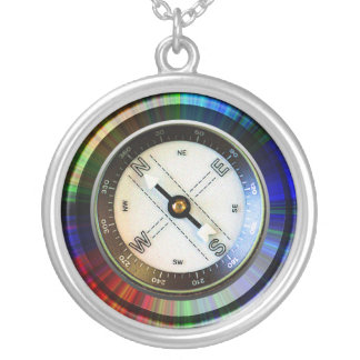 Imitat-Kompass Halskette Mit Rundem Anhänger