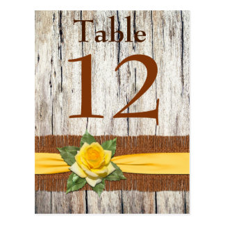 IMITAT Leinwand, gelbe Rosen-Tischnummer-Postkarte