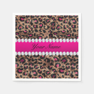 Imitat-Leopard-heißes Rosa-Rosen-Goldfolie und Servietten