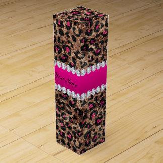 Imitat-Leopard-heißes Rosa-Rosen-Goldfolie und Weinbox