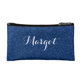 Imitat-Marine-Blau-Glitzer-personalisierte Makeup-Tasche