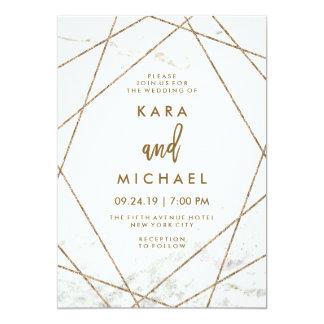Imitat-Marmor und kupferne geometrische Hochzeit 12,7 X 17,8 Cm Einladungskarte