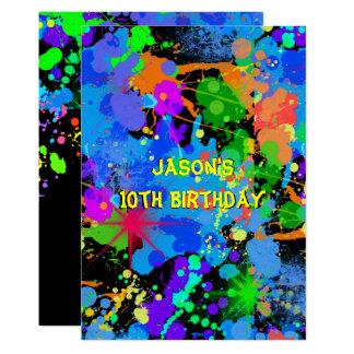 Imitat Neon, Farben-Spritzer, Paintball, Einladung