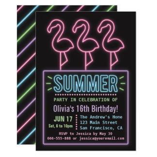 Imitat-Neonflamingo-Sommer sechzehn 11,4 X 15,9 Cm Einladungskarte