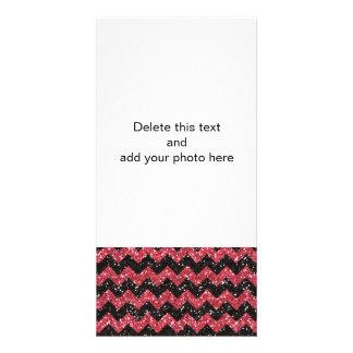 Imitat-rosa Glitter-Zickzack Fotokarte