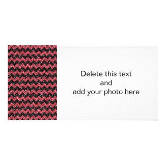 Imitat-rosa Glitter-Zickzack Bilderkarte