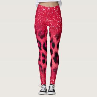Imitat-rosa Glitzer-Leopard-Stellen für jugendlich Leggings