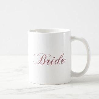 Imitat-rosa Glitzern-Braut Kaffeetasse