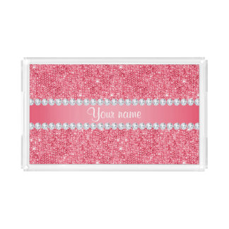 Imitat-rosa Sequins und Diamanten Acryl Tablett