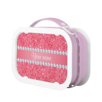 Imitat-rosa Sequins und Diamanten Brotdose
