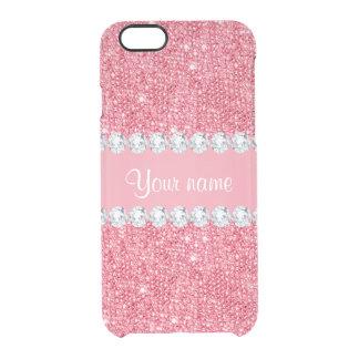 Imitat-rosa Sequins und Diamanten Durchsichtige iPhone 6/6S Hülle