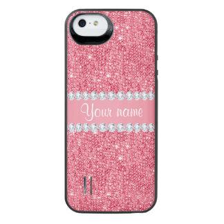 Imitat-rosa Sequins und Diamanten iPhone SE/5/5s Batterie Hülle