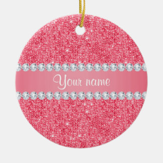Imitat-rosa Sequins und Diamanten Keramik Ornament