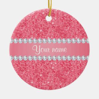 Imitat-rosa Sequins und Diamanten Rundes Keramik Ornament