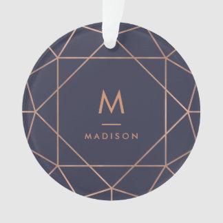 Imitat-Rosen-Gold geometrisch auf Mitternachtsblau Ornament