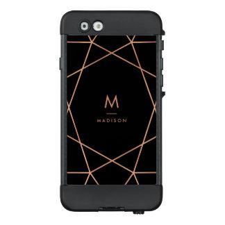 Imitat-Rosen-Gold geometrisch auf Schwarzem LifeProof NÜÜD iPhone 6 Hülle