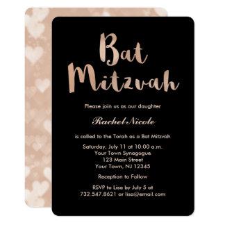Imitat-Rosen-Gold und schwarzer Schläger Mitzvah 12,7 X 17,8 Cm Einladungskarte