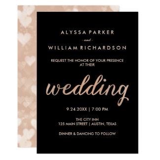 Imitat-Rosen-Gold und Schwarzes mit Wedding Bokeh Karte
