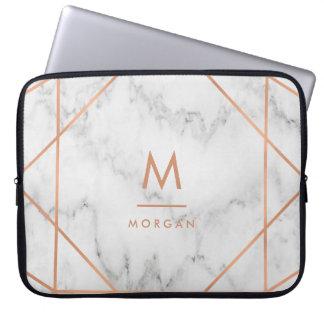 Imitat-Rosen-Goldgeometrischer | weißer Laptop Sleeve