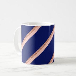 Imitat-Rosen-GoldGlitter und rosa Streifenmuster Kaffeetasse
