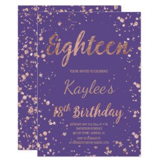 Imitat-Rosengoldconfetti lila 18. Geburtstag Karte