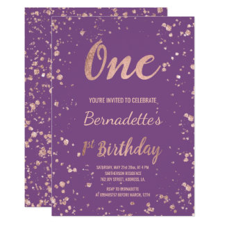 Imitat-Rosengoldconfetti lila erster Geburtstag Karte