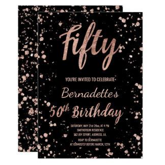 Imitat-Rosengoldconfetti-Spritzer 50. Geburtstag Karte
