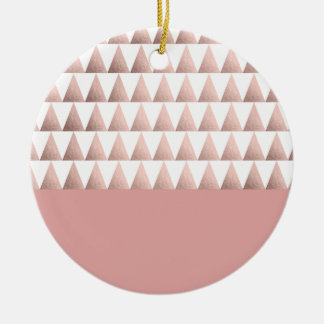 Imitat-Rosengoldgeometrisches Dreieckmuster Rundes Keramik Ornament