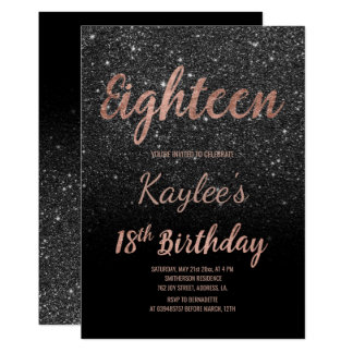 Imitat-Rosengoldschwarz-Glitter 18. Geburtstag Karte