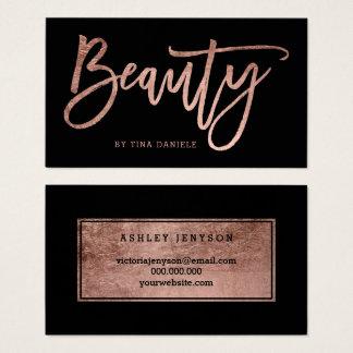 Imitat-Rosengoldtypographieschwarzes der Schönheit Visitenkarte