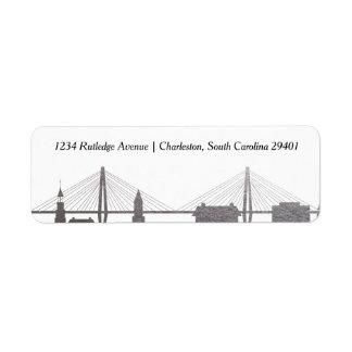 Imitat-Silber-Aufkleber Charlestons South Carolina Rückversand-Adressaufkleber