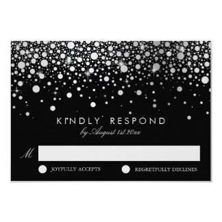 Imitat-silberne Folieconfetti-schwarze u. weiße 8,9 X 12,7 Cm Einladungskarte