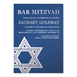 Imitat-silberne Folien-Stern Bar Mitzvah 12,7 X 17,8 Cm Einladungskarte
