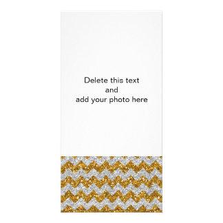 Imitat-silberner Glitter-Zickzack Foto Karten Vorlage