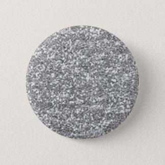 Imitat-silberner Glitzer Runder Button 5,7 Cm