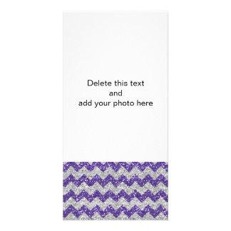 Imitat-silbernes Glitter-Zickzack Muster-lila Bildkarte
