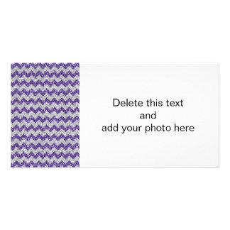 Imitat-silbernes Glitter-Zickzack Muster-lila Photokartenvorlagen