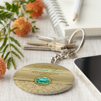 Imitat-Smaragdedelstein-metallischer glänzender Schlüsselanhänger