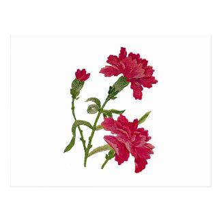 Imitat stickte rote Gartennelken Postkarte