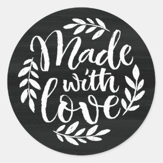 Imitat-Tafel-Beschriftung gemacht mit Liebe Runder Aufkleber