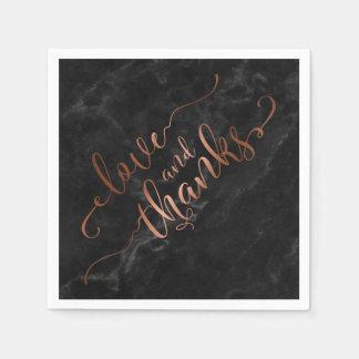 Imitat verkupfert Skript-Liebe und Dank mit Serviette