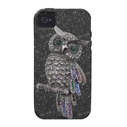 Imitat versilbert Eulen-u. Juwel-schwarzes Glitter Case-Mate iPhone 4 Case
