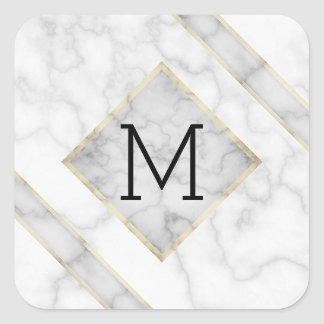 Imitat-weißer Marmor u. beige Alabaster mit Quadratischer Aufkleber
