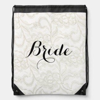 IMITAT weißes Spitze Wedding Braut Turnbeutel