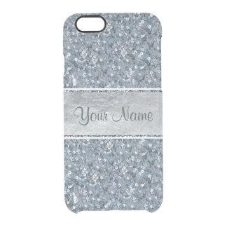 Imitatblauer Sequins-Glitter-silberne Folie Durchsichtige iPhone 6/6S Hülle
