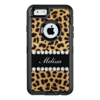 Imitatcheetah-Pelz-Diamanten personalisiert OtterBox iPhone 6/6s Hülle