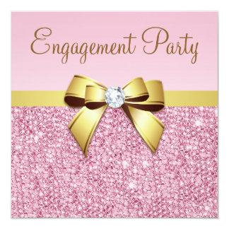 Imitatrosa Sequins-Goldbogen-Verlobungs-Party Quadratische 13,3 Cm Einladungskarte