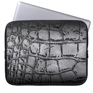Imitatsilber und schwarze Krokodil-/Snake-Haut Laptopschutzhülle
