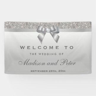 Imitatsilberne Sequins-Bogen-Diamant-Hochzeit Banner
