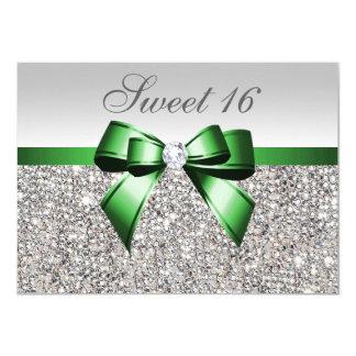 Imitatsilberne Sequins-Smaragdbogen-Diamant-Bonbon 11,4 X 15,9 Cm Einladungskarte